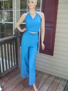 Vtg 80'sTurquoise 2 Piece Wrap Palazzo Pants Halter Set Thin Cotton Beach Island #StMartin