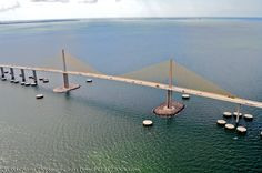 The Sunshine Skyway Bridge crosses Tampa Bay, and is one of the largest bridges in the state.