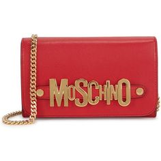 Womens Clutches Moschino Red Logo Leather Clutch ($555) ❤ liked on Polyvore featuring bags, handbags, clutches, 100 leather handbags, genuine leather purse, chain handle handbags, moschino purse and chain strap purse