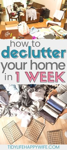 How to Declutter Your Entire House in One Week - - So you're tired of the chaos and clutter and you're finally ready to do something about it. Let me show you how to declutter your house in one week. Home Organization Hacks, Organizing Your Home, Garage Organization, Organizing Ideas, Clearing Out Clutter, Monthly Cleaning Schedule, Clutter Solutions, Messy House, Tiny House
