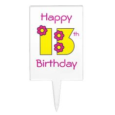 Happy 13th Birthday in Flores Yellow Cake Toppers