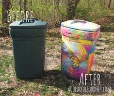 Spray painting a trash can with chalk paint and stencils with Carolyn Dube Painted Trash Cans, Paint Cans, Chalk Spray Paint, Spray Painting, Painting Plastic, Garbage Can, Trash Bins, Environmental Art, Recycled Art
