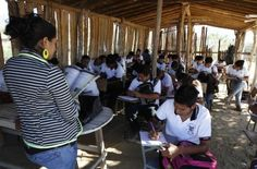 Rural Mexican school. No walls, no computers, dirt floor. Education is not a priority for those in power.