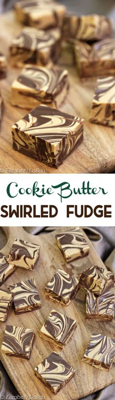 Cookie Butter Swirled Fudge- an easy, four-ingredient recipe made entirely in the microwave! It's simple, quick, gorgeous, and delicious! | From candy.about.com