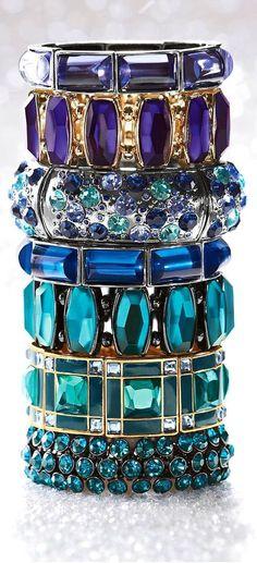 stacked bracelets, jewel tones, color, accessori, jewelry bracelets, blue lagoon, jewelry trends, bangle bracelets, bling bling