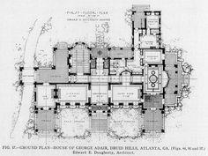 Floor plan of the George Adair, Druid Hills, Residence, Atlanta  ARCHI/MAPS : Photo