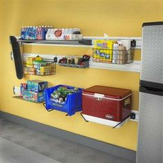 Hang wire baskets on the garage walls for extra storage.