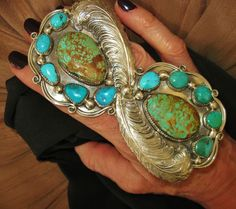 CHAVEZ - EXTRAORDINARY HUGE FEATHERS TURQUOISE RING. 85 grams, Sterling Silver  | eBay