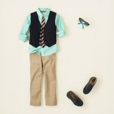 Mint Shirt and Khaki Pants Are a Great Back-To-School Ensemble