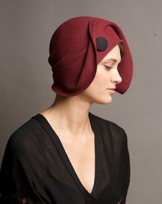Vintage burgundy hand draped cloche hat by yellowfield7 on Etsy.