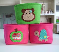 felt storage boxes by paper-and-string-on-flickr, via Flickr