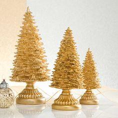 Gold Resin 3-piece Tree Figurine Set by Lenox  #lenoxholiday