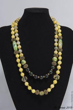 """Купить """"Солнечный вихрь"""" колье из натуральных камней, бусы, украшение - желтый, лимонный зеленый"""