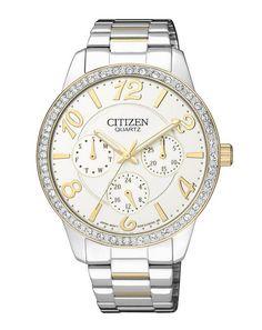 Montre Citizen Pierres Swarovski Femme ED8124-53A, boîtier et bracelet acier, mouvement quartz.