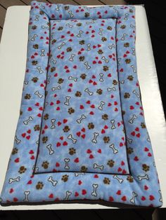 Dog Bed, Dog Kennel Mat, Blue Dog Bed, Dog Crate Pad, Dog Bone Fabric, XL Kennel Pad, Paw Print Fabric, Puppy Crate Bed, Large Puppy Bed by ComfyPetPads on Etsy