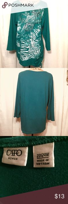 Cato top with design Long Kelly green top. One side is scrunched at bottom with a drawstring. EUC Cato Tops Tunics