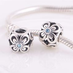 Charms Silver Blue flower charm perfect fit for Pandora or European bracelet crafted in solid silver this charm will be a perfect addition to your collection