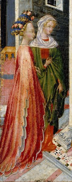 Giovanni di Paolo 1440 - The Presentation of Christ in the Temple Metropolitan Museum of Art Medieval Fashion, Medieval Clothing, Historical Clothing, Medieval Tapestry, Medieval Art, Medieval Costume, Medieval Dress, Rennaissance Art, 15th Century Clothing