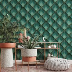 Teardrop Pattern Removable Wallpaper, Monochromatic Teal Wall Cling, Geometric Peel and Stick, Modern Art Deco Decor, Pretty Wall Covering - Canvas Wall Decal / 1 roll: 24W x 96H