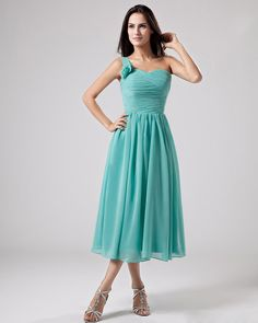 Inviting One Shoulder Chiffon Bridesmaid tea length Dress