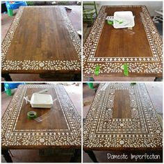 indian inlay stenciled tabletop, home decor, painted furniture, Creating an intricate Indian Inlay stenciled table process photos