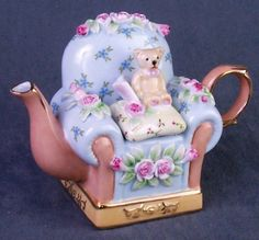 Pink Roses on Blue Chair with Bear I love this so much!
