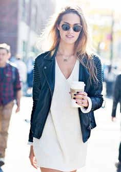leather and knit