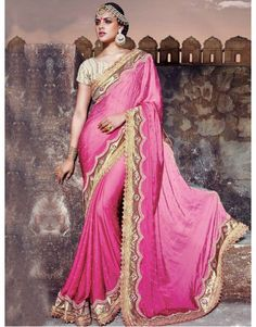 Pink Satin Saree with Pearl Work