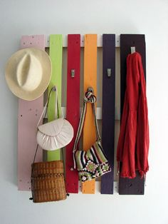 recyled pallet colorful diy coat rack