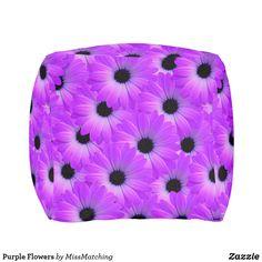 Purple Flowers Pouf