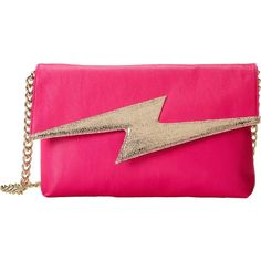Betsey Johnson Bright Lights Clutch (130 BRL) ❤ liked on Polyvore featuring bags, handbags, clutches, purses, fuchsia, pink handbags, shoulder strap purses, man bag, vegan purses and pink purse