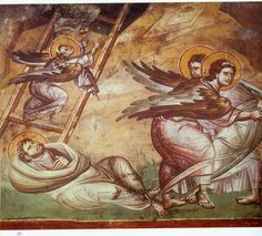 The frescoes of the cathedral Protata in Kars, Athos. Byzantine Art, Byzantine Icons, Religious Paintings, Religious Art, Jacob's Ladder, Old Testament, Orthodox Icons, Christian Art, Archetypes