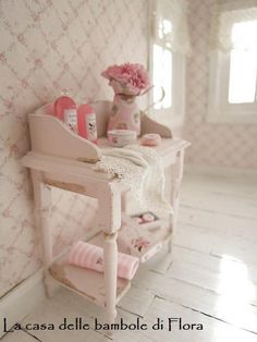Cherry & Roses washstand with accessories - 1/12 dolls house dollhouse miniatures. $55.00, via Etsy.