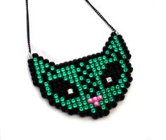 New to VelvetVolcano on Etsy: FrankenKitty - Sparkly Halloween Green Zombie Cat Necklace - Spooky Frankenstein Monster Feline Jewellery - Macabre Psychobilly Pendant (19.80 GBP)