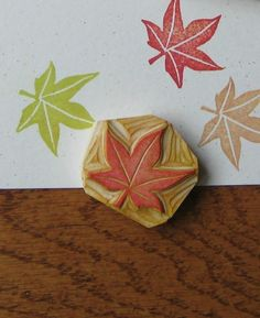 Tiny Maple Leaf Rubber Stamp Hand Carved. $8.00, via Etsy.