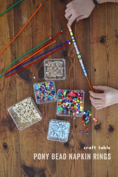 craft table: pony bead napkin rings {great for small motor skills, patterning and spelling} | artbarblog.com