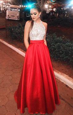 Halter Satin Long Prom Dresses, Beading Prom Dress,Stain