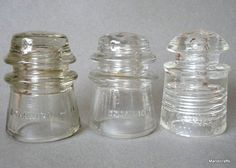 Telephone #Insulator x 3 Dominion Glass Canada Pyrex USA 1940s 50s Clear Vintage #DominionGlassPyrex