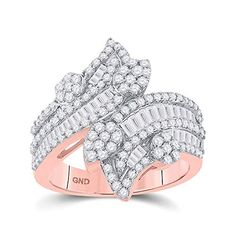 14kt Rose Gold Baguette Diamond Bypass Cluster Fashion Ring for Women 1-1/3 Cttw Tiea Jewels Station Necklace, 3 Carat, Diamond Settings, Baguette Diamond, Fashion Rings, Style Fashion, Metal Stamping, Diamond Cuts, Rose Gold