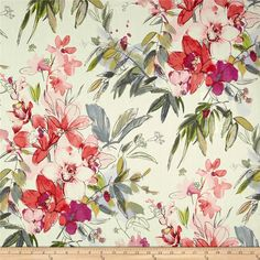 Covington Myrtle Petal from @fabricdotcom  Screen printed on cotton duck; this versatile, lightweight fabric is perfect for window accents (draperies, valances, curtains and swags), accent pillows, bed skirts, duvet covers, slipcovers, light upholstery and other home decor accents. Create handbags, tote bags, aprons and more. Colors include cream, sky blue, light blue, navy, charcoal, yellow and shades of pink and green.