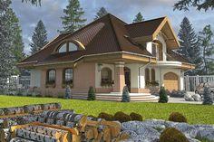 Projekt domu Kraska z garażem 2-st. [A] 216,2 m2 - koszt budowy - EXTRADOM Dream Home Design, Modern House Design, Dream Mansion, Modern Bungalow, Cute House, Exterior House Colors, Facade House, Design Case, Home Fashion