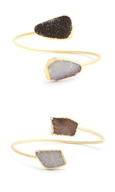 Natural agate and amethyst stone open cuff bracelet in bendable gold-toned metal that fits to your wrist