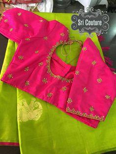 24 New Ideas embroidery blouse designs simple thread Hand Work Blouse Design, Simple Blouse Designs, Stylish Blouse Design, Simple Designs, Pattu Saree Blouse Designs, Blouse Designs Silk, Blouse Patterns, Silk Sarees, Lehenga Saree