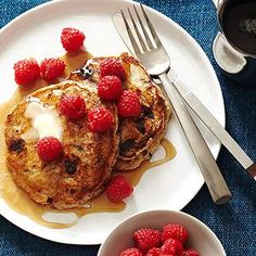 Banana Pancakes with Chocolate Bits and Raspberries From Better Homes and Gardens, ideas and improvement projects for your home and garden plus recipes and entertaining ideas.