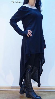 Black Asymmetrical Sweater/Top Sweater Dress/Knitwear Dress/Long Women RibbetKnitted Sweater Coat/Loose PlusSize Sweater Blouse/F1307 by FloAtelier on Etsy https://www.etsy.com/uk/listing/206323327/black-asymmetrical-sweatertop-sweater