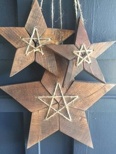 Items similar to Three Reclaimed Wood 5 Point Stars on Etsy Three Reclaimed Wood 5 Point Stars crafts christmas crafts diy crafts hobbies crafts ideas crafts to sell crafts wooden signs Wooden Christmas Crafts, Wooden Christmas Decorations, Wooden Crafts, Rustic Christmas, Christmas Projects, Christmas Diy, Xmas, Wood Stars, Woodworking Projects Plans