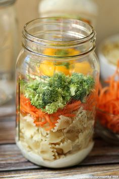 Mason Jar Salads..easy to make the night before means No more vending machine meals for work because you did not have time in the morning!