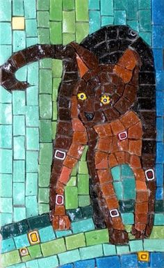 Gallery of stained glass mosaic cats by Santa Barbara, CA artist Christine Brallier. Mosaic Crafts, Mosaic Art, Mosaic Glass, Mosaic Tiles, Glass Art, Stained Glass, Mosaic Designs, Mosaic Patterns, Mosaic Animals