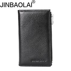 JINBAOLAI Genuine Leather Men Wallet with Zipper Purse Clutch Long Solid Portefeuille Homme Men Clutch Bags Small Slim Wallet #Affiliate