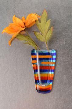 Vibrant Stripes Pocket vase  magnetic fused glass by Artdefleur, $15.00